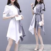 襯衫洋裝2020新款夏季短袖不規則中長款裙子大碼寬鬆拼接襯衫雪紡洋裝女 JUST M