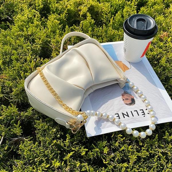 珍珠鏈條包 超火小包包女包夏季2021新款潮百搭鏈條斜挎包夏天珍珠手提腋下包 ww