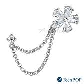 耳環 ATeenPOP 正白K 晶鑽花漾 單邊單個 耳針耳環 鍊條耳環
