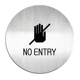 迪多Deflect-o 鋁質圓形貼牌-英文NO ENTRY禁止進入指示 613710C