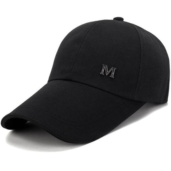 男加長檐棒球帽戶外休閒運動帽春秋天薄款鴨舌帽春夏季帽子男黑色