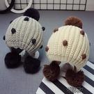 毛帽 毛線帽女童毛球帽5個月-2歲小孩帽子 交換禮物