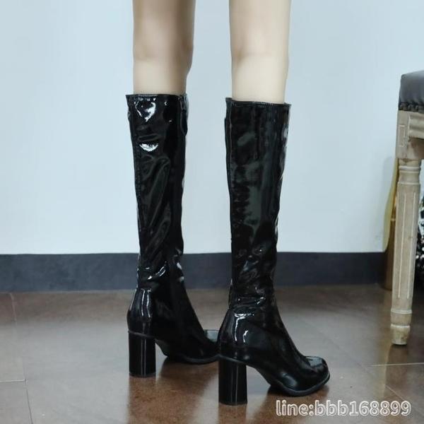 膝上靴 漆皮機車靴網紅ins潮粗跟不過膝長靴子女秋冬新款百搭高筒靴 城市科技