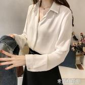 雪紡上衣 職業白色襯衫女士設計感小眾2020新款長袖襯衣女夏季薄款雪紡上衣 快速出貨