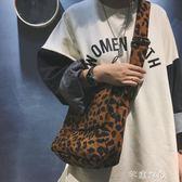 韓國ins款簡約時尚豹紋單肩包潮流斜背帆布女包個性休閒學生包包 千惠衣屋