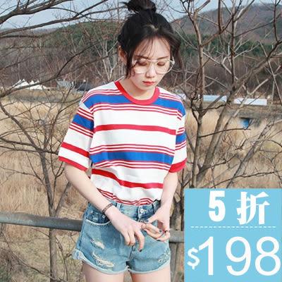 (全館一件免運)DE SHOP~韓版經典百搭寬鬆配色條紋卷邊短袖T恤女(T-488)均碼