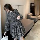 雪紡洋裝 法式復古連衣裙女氣質小黑裙2021年春裝新款收腰顯瘦雪紡A字裙子