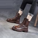 短靴 意爾康真皮馬丁靴女英倫風2021年秋冬新款繫帶短靴春秋厚底單靴子 韓國時尚週