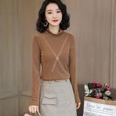 網紗高領內搭衫長袖上衣加絨緊身T恤(三色M-3XL可選)-設計家 ZY729