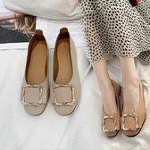2019春夏新款方頭平底單鞋 軟底奶奶鞋晚晚仙女鞋潮網紅溫柔豆豆鞋