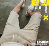 短褲男夏季五分馬褲子韓版潮流外穿亞麻休閒運動寬鬆七分沙灘中褲 極速出貨