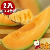 【果之家】台南七股超甜爆汁網紋紅肉哈密瓜2顆(單顆約1KG)