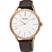 SEIKO精工 城市型男薄型手錶-銀x玫塊金框x咖啡/38mm 6N01-00A0K(SUR234P1)