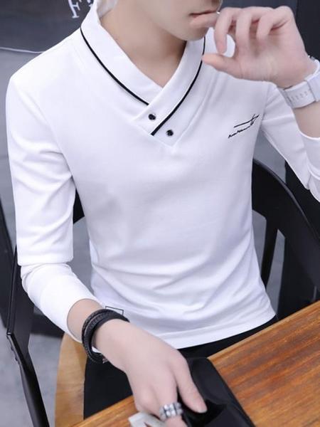 男士長袖t恤V領上衣服2019秋季新款潮牌大碼男裝衛生衣打底衫-ifashion