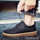 皮鞋男潮流百搭休閒平板鞋商務正裝英倫風新款秋季潮鞋 【快速出貨】