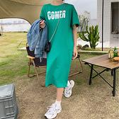 大碼洋裝~T恤裙~324韓版寬松大碼中長款露背短袖T恤裙過膝連身裙N4F-C417 胖妞衣櫥