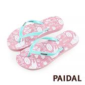 Paidal 懶懶貓足弓夾腳涼拖鞋-清新藍