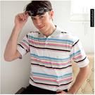 【大盤大】(P15671) 男士衣服 M 短袖條紋上衣 口袋POLO衫 高爾夫 舒適透氣 寬鬆 運動 父親節