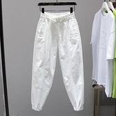 哈倫褲 白色褲子女松緊腰寬松休閑褲2021夏季新款潮流束腳顯瘦蘿卜哈倫褲 薇薇