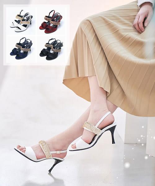 【2wenty6ix】正韓 Andrea Heels 時尚華麗 質感緞面光皮革 垂墜串珠 調整扣帶 高跟涼鞋 (四色)