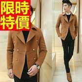 毛呢外套紳士風大方-優質商務雙排扣短版男大衣2色61x20【巴黎精品】