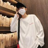 秋季韓版潮流長袖T恤男士個性寬鬆運動上衣