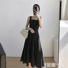 吊帶裙 春裝2021年新款吊帶連衣裙內搭收腰顯瘦赫本風復古小黑裙禮服女 【99免運】