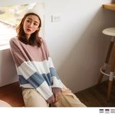 《FA2096-》色塊拼接柔軟針織長袖毛衣 OB嚴選