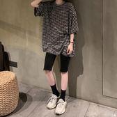中長款上衣男友風條紋中長款寬鬆T恤女韓版新款2019夏季短袖休閒上衣 伊蒂斯女裝