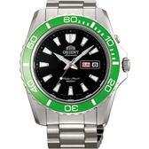 【台南 時代鐘錶 ORIENT】東方錶 FEM75003B 兩百米潛水機械錶 綠圈/銀 44mm 公司貨開發票