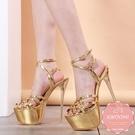 高跟涼鞋 設計款極高蘿莉風金色細跟 高跟鞋 晚宴鞋 新娘鞋 大尺碼35-40*Kwoomi-A62