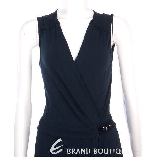 PAOLA FRANI 深藍色皺褶側釦V領洋裝 0930181-34