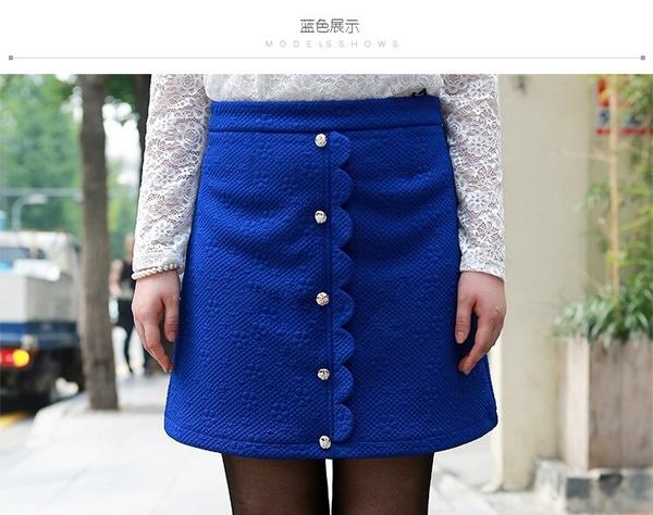 [98598-QF]花瓣型排扣半身裙短裙~小三衣藏