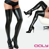 SM精品 情趣用品虐戀精品CICILY 性格女孩 漆皮塗膠性感彈力長筒襪 黑
