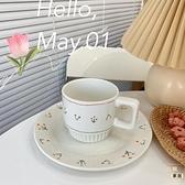 花朵咖啡杯陶瓷下午茶甜品家用早餐盤餐具復古【白嶼家居】