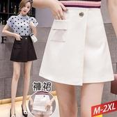 方直口袋金釦短褲裙(2色)M~2XL【741647W】
