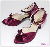 節奏皮件~國標舞鞋拉丁鞋款緞面鑲鑽舞鞋編號966 887 紫布
