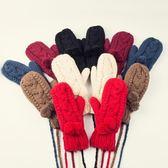 針織手套-羊毛毛球手工編織連指可掛脖女手套6色73or14[巴黎精品]