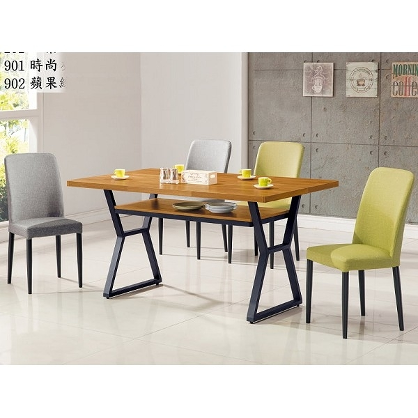 餐桌 AT-832-1 工業風木心板4尺柚木餐桌 (不含椅子) 【大眾家居舘】