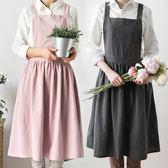 初味生活館 歐式公主漂亮個性連衣圍裙 親子母女花店工作LOGO定制 卡布奇诺