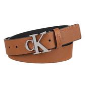 CK 牛仔Logo褐色皮帶