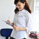 【S-41ED】森奈健-優雅成熟OL吸濕排汗短領巾七分袖女襯衫(白色)
