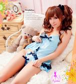 【女王時尚精品】睡衣組合 甜蜜教主柔緞性感短版睡衣+丁字褲-藍色 情趣睡衣 日系睡衣 情趣用品