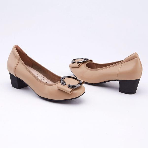 kadia.典雅圓釦真皮高跟包鞋(9510-30棕色)