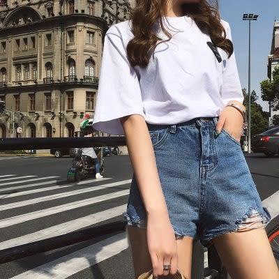 韓國時尚百搭高腰牛仔短褲熱褲L-4XL中大尺碼25018胖mm韓版顯瘦破洞寬松闊腿褲愛尚布衣
