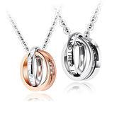 【5折超值價】新款歐美潮流雙環鑲鑽情侶鈦鋼項鍊