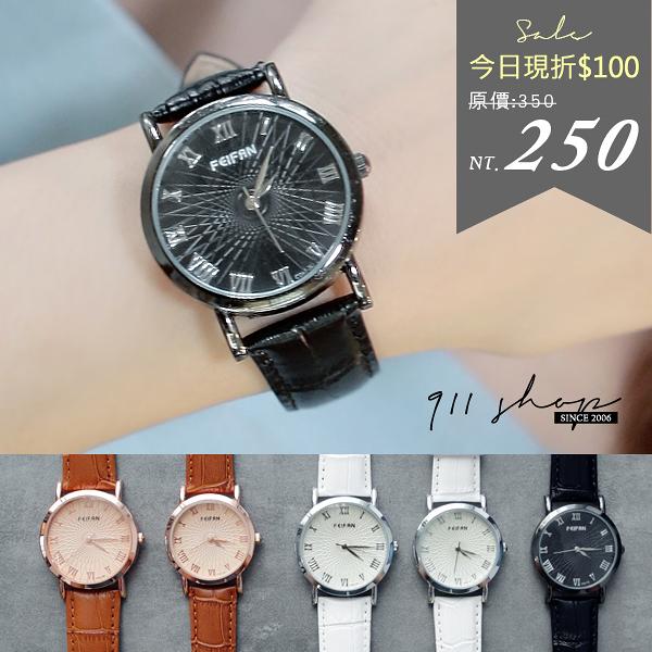 Maroon.香港FEIFAN。萬花筒切線羅馬數字鱷魚皮紋錶帶手錶/情侶對錶【ta546】*911 SHOP*