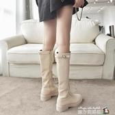 高筒靴女過膝長筒靴子女秋冬新款百搭馬丁靴英倫風騎士皮靴潮 魔方