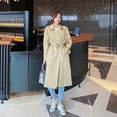 風衣大衣-長版薄款寬鬆繫帶休閒女外套73yt50【巴黎精品】