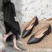 百搭瓢鞋女2019新款黑色皮鞋女上班工作鞋職業平底小跟單鞋女3cm  印象家品